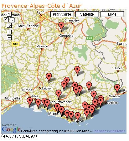 Géo-localisation des lieux naturistes